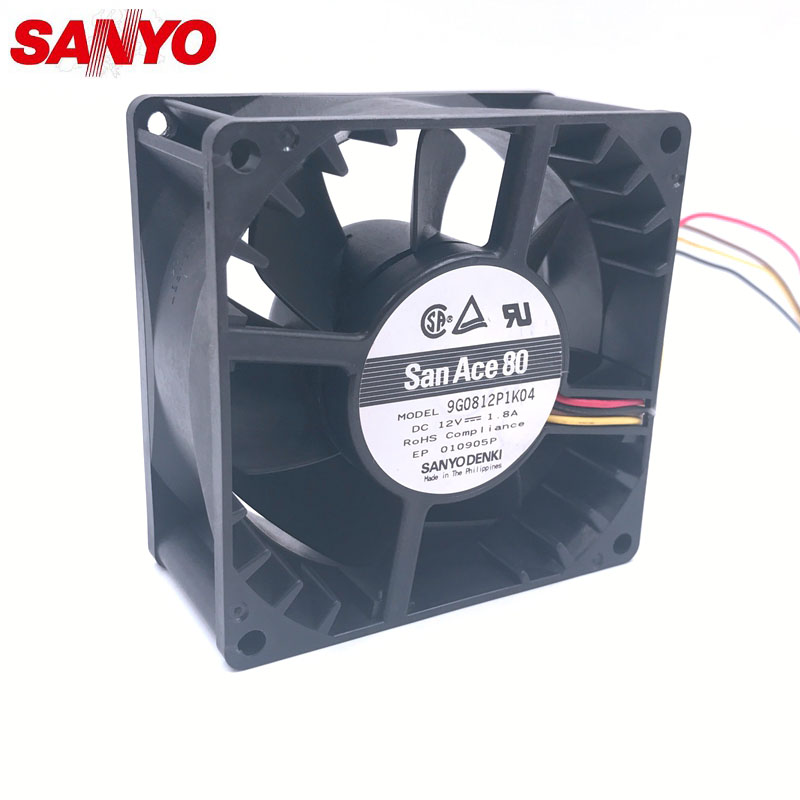 Original For Sanyo 9G0812P1K04 12V 1.8A 8038 80*80*38mm 107.3cfm 7800RPM 8CM four wire PWM 4P powerful axial case cooling fan