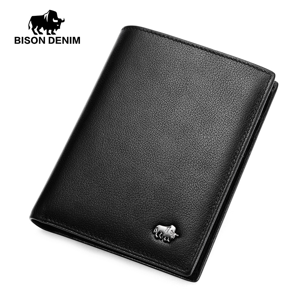 BISON DENIM Purse For Men Genuine Leather Cow Leather Wallet Mini Casual Male Purses Holders Men's Wallets N4474