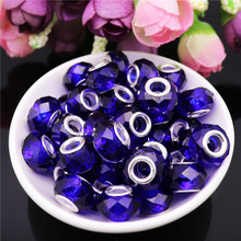 10Pcs Blue Mixed Color Silver 5mm Big Hole Crystal Murano Spacer Glass Beads fit for Pandora Charm Bracelet for Jewelry Making