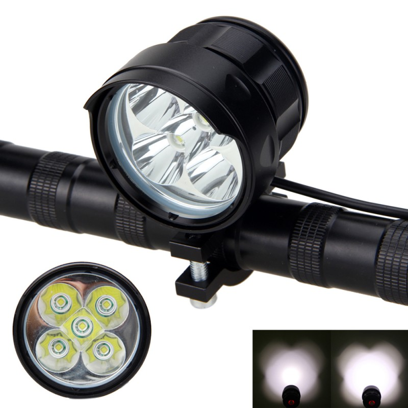 15000LM Bike Lamp 5x XM-L T6 LED Front Bicycle Light Waterproof MTB Cycling Headlight Black Strong/Middle/Strobe LED Light