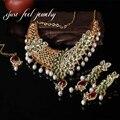 India Mix Color 3 UNID Chapado En Oro Unique Hoja Colgantes de La Joyería de Perlas de Cristal Pendiente Piedras Gargantilla Declaración Collar Maxi