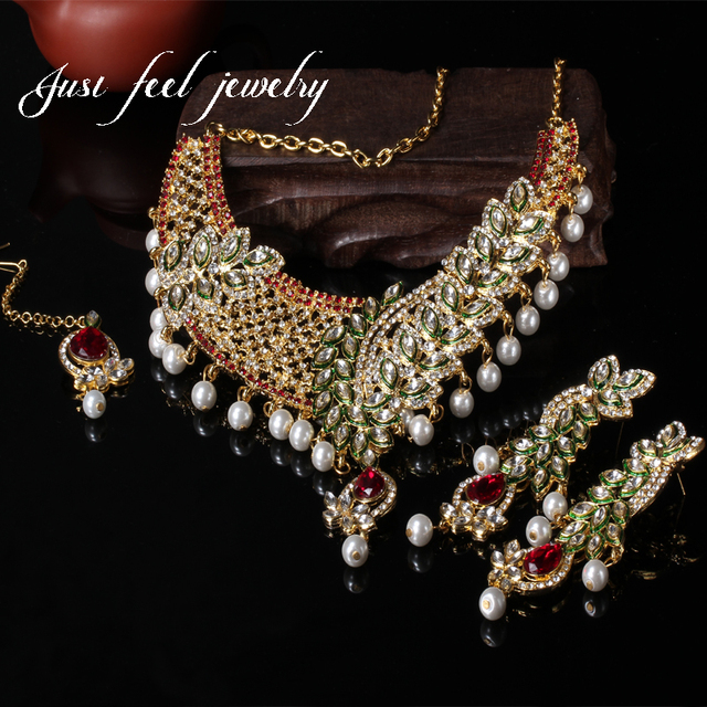 India Mix Colour 3PC Gold Plating Unique Leaf Crystal Pearls Jewelry Pendants Earring Rhinestones Choker Statement Maxi Necklace