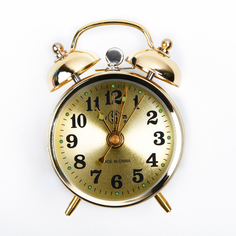 Horseshoe Mechanical Gold Alarm Clock Noctilucent Rod/Bell Manual Wind Up Spring Classic Vintage Alarm Clock Gift Room Decor 7cm