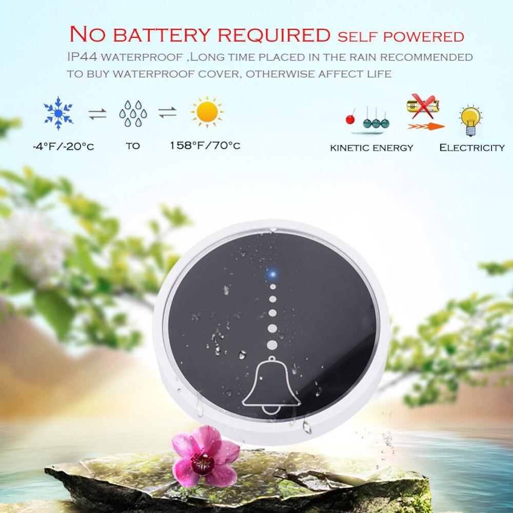 SMATRUL self powered Waterproof Wireless DoorBell night light no battery EU plug home Cordless Door Bell 1 2 button 1 2 Receiver 2