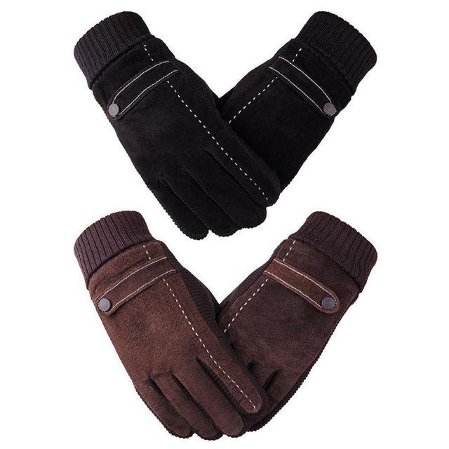 d5efe41c76238 New Arrival Men Women Genuine Pigskin Leather Gloves Winter Gloves Men Cold  Proof Warm Gloves Knitting White Line Patchwork Glov
