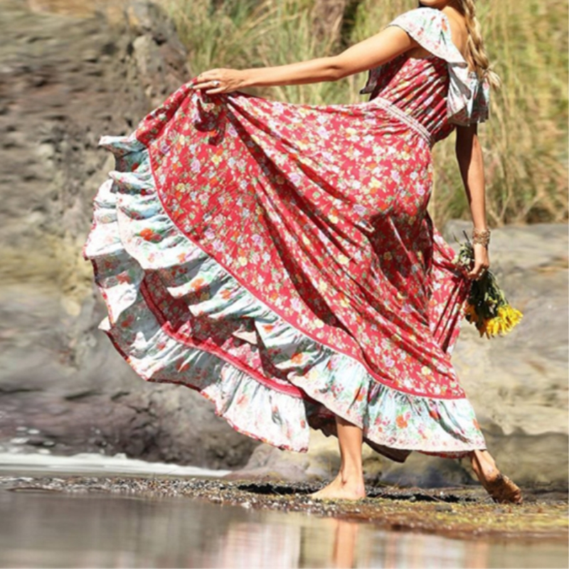 Le donne manica lunga Chiffon Boho Ruffle Dress Party Tunica Off spalla abito