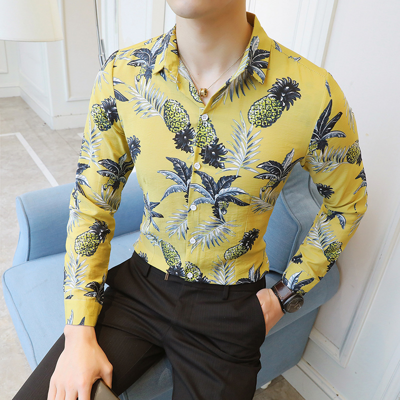 2019 New Men's Fashion Boutique Printed Casual Long-sleeved Shirt / Pineapple Flower Male Leisure Long Sleeve Shirts Size M-5XL