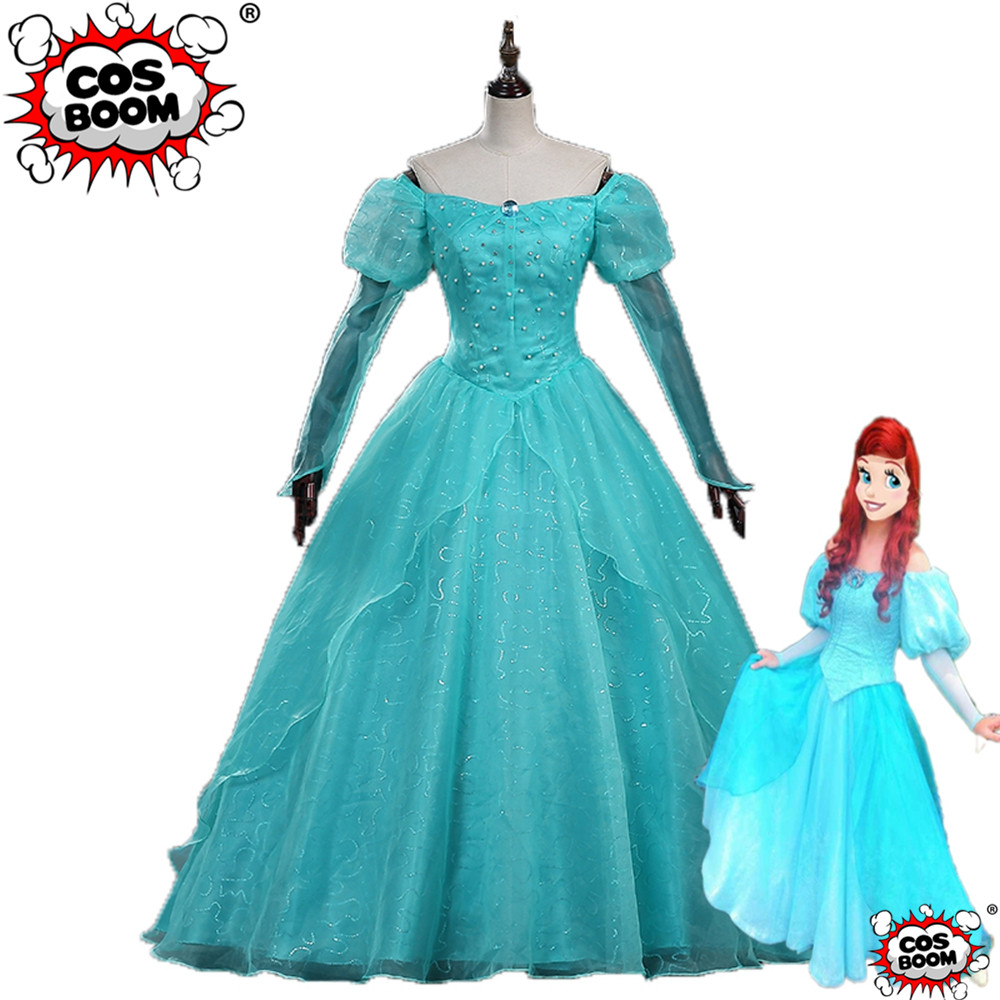 COSBOOM The Little Mermaid Ariel Turquoise Tulle With Pearl Cosplay Costume Princess Dress Halloween Carnival Party Costume