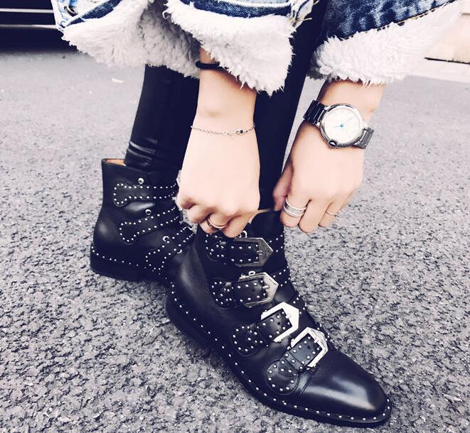 2017 new Spring Autumn ankle boots for women leather buckle black boots low heel shoes fashion design studded gladiator boots женский шарф l425