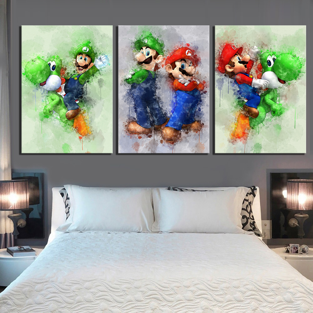 3 Piece Super Smash Bros Game Poster Picture Super Mario Cartoon Pictures Abstract Art Canvas Paintings for Home Decor Wall Art 1