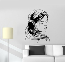 헤드폰 음악 십대 연인 스티커 학교 기숙사 비닐 벽 데칼 소녀 포스터 홈 아트 디자인 장식 2yy11