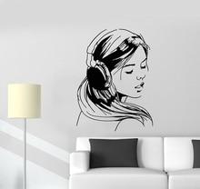 Auriculares con música para adolescentes adhesivos de enamorados, calcomanía de vinilo para pared para dormitorio escolar, póster para chica, decoración de diseño de arte para el hogar 2YY11