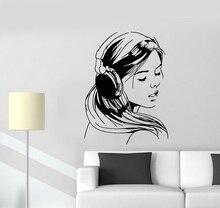 Cuffie di musica teenager amanti adesivi dormitorio della scuola della parete del vinile della decalcomania ragazza poster casa di arte di disegno della decorazione 2YY11