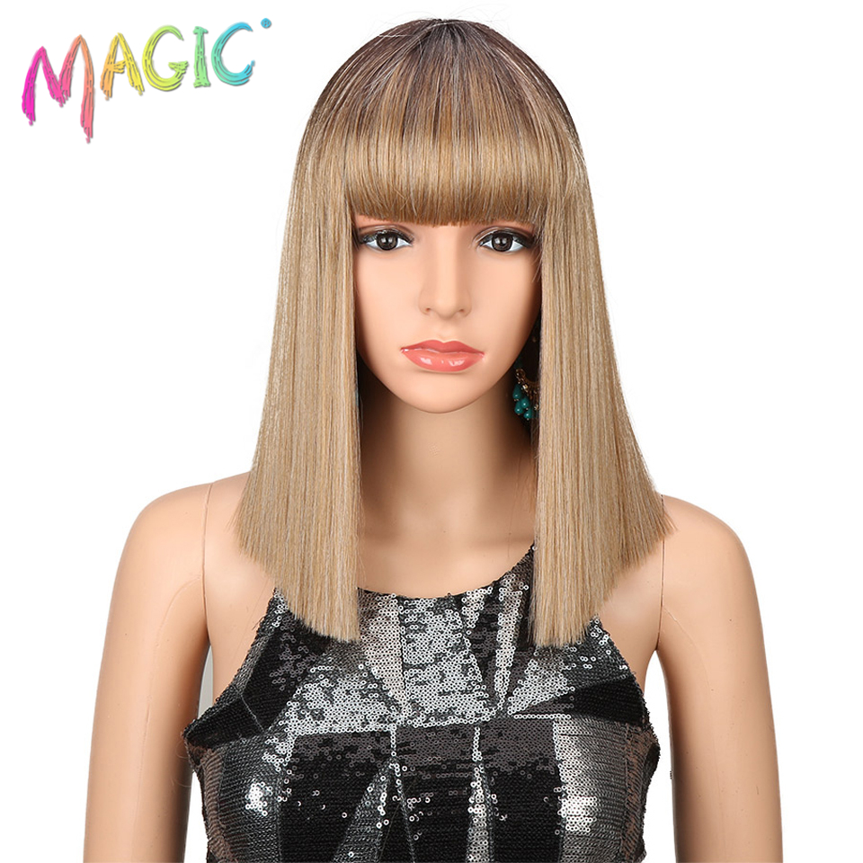 Magic Hair Synthetic Wigs For Women 14 Inch Blonde Wig Short Straight Hair Heat Resistant Cosplay Wig 6 Color Free Shiping