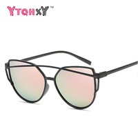 2017 fashion Women sunglasses 8 Colour Luxury Cat Eye Sunglasses Double-Deck Frame UV400 Sexy Sun Glasses gafas de sol Y123Y