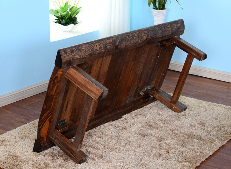 Mesa de té asiática rectangular de color antiguo Muebles de madera - Mueble - foto 4