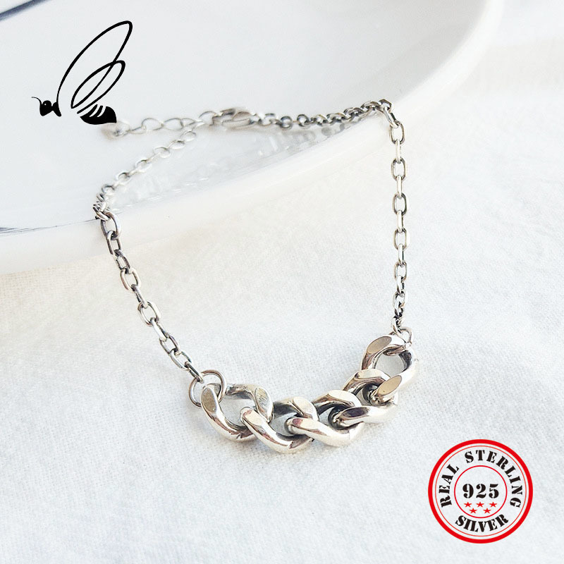 Real 925 Sterling Silver Vintage Thick Chain Bracelets Creative Texture Elegant Female Fine Jewelry