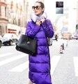2015 invierno largo abajo parka abrigo chaqueta de wadded de las mujeres femeninas largo abajo súper larg súper cálida chaqueta larga abajo mujer
