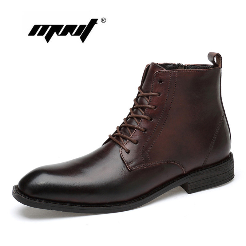 Automne Et D'hiver Chaussures Top Qualité Hommes Bottes En Cuir Naturel Étanche Bussiness Neige Bottes à Lacets En Caoutchouc Chaussures