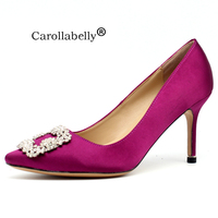 2018 New Rhinestone High Heels Silk Upper 6cm or 8cm or 10cm Stiletto Heels Shoes Women Wedding Party Shoes
