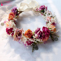 Eternal flowers Bridal Headwear Cheap Country Wedding Accessories Flowers With Ribbon AliExpress China ZH011