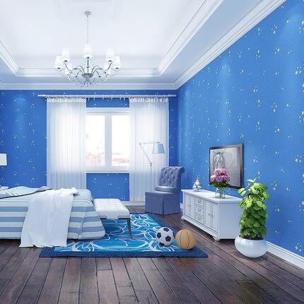 Nouveau bleu dessin animé étoile fluorescente papier peint chambre salon Non-tissé TV canapé fond enfants papier peint rouleau