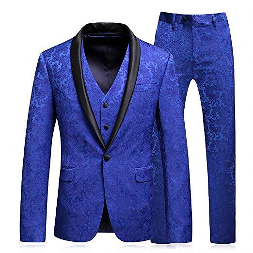 Men's Shawl Lapel 3-Pieces Suit Slim Fit One Button Dress Suit Tuxedo Jacket Pants+Vest Men Suits For Wedding Costume Homme