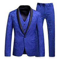 Men's Shawl Lapel 3 Pieces Suit Slim Fit One Button Dress Suit tuxedo Jacket Pants+Vest Men Suits for Wedding Costume Homme