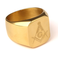 New Arrival Men Ring Gold 18k Plated HIPHOP RING Men Golden Rings Punk Rock Jewelry Anillos