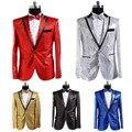 O envio gratuito de moda Mens terno do revestimento do revestimento do traje de Lantejoulas boate cantor Coreano estúdio fotos mostram fase jaquetas com gravata borboleta