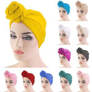 Image 1 - Gorro para quimio con nudo para mujer, gorro para la caída del pelo, Hijab musulmán, sombreros de turbante largo, pañuelo para la cabeza, bufanda árabe islámica, nudo de Color sólido 180*70cm