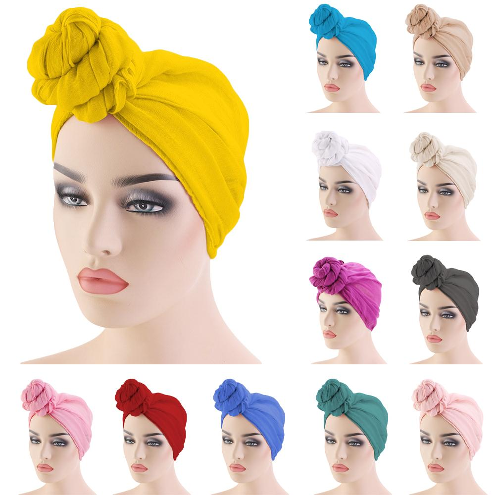 Women Knot Bonnet Chemo Hair Loss Cap Muslim Hijab Long Turban Hats Head Scarf Wrap Islamic Arab Scarf Knot Solid Color 180*70cm