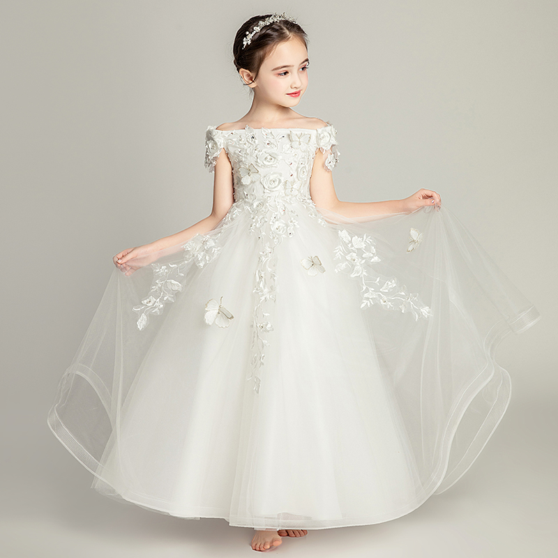 Beads   Flower     Girl     Dresses   For Weddings Ball Gown Butterfly Children Communion Prom   Dress   Off The Shoulder Applique Mesh Gowns