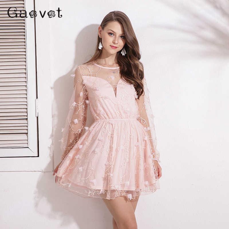 Gaovot 2019 夏の女性のドレスシリーズメッシュパッチワーク刺繍エレガントなアップリケドレスファムチュニックファッション Vestidos KW173075