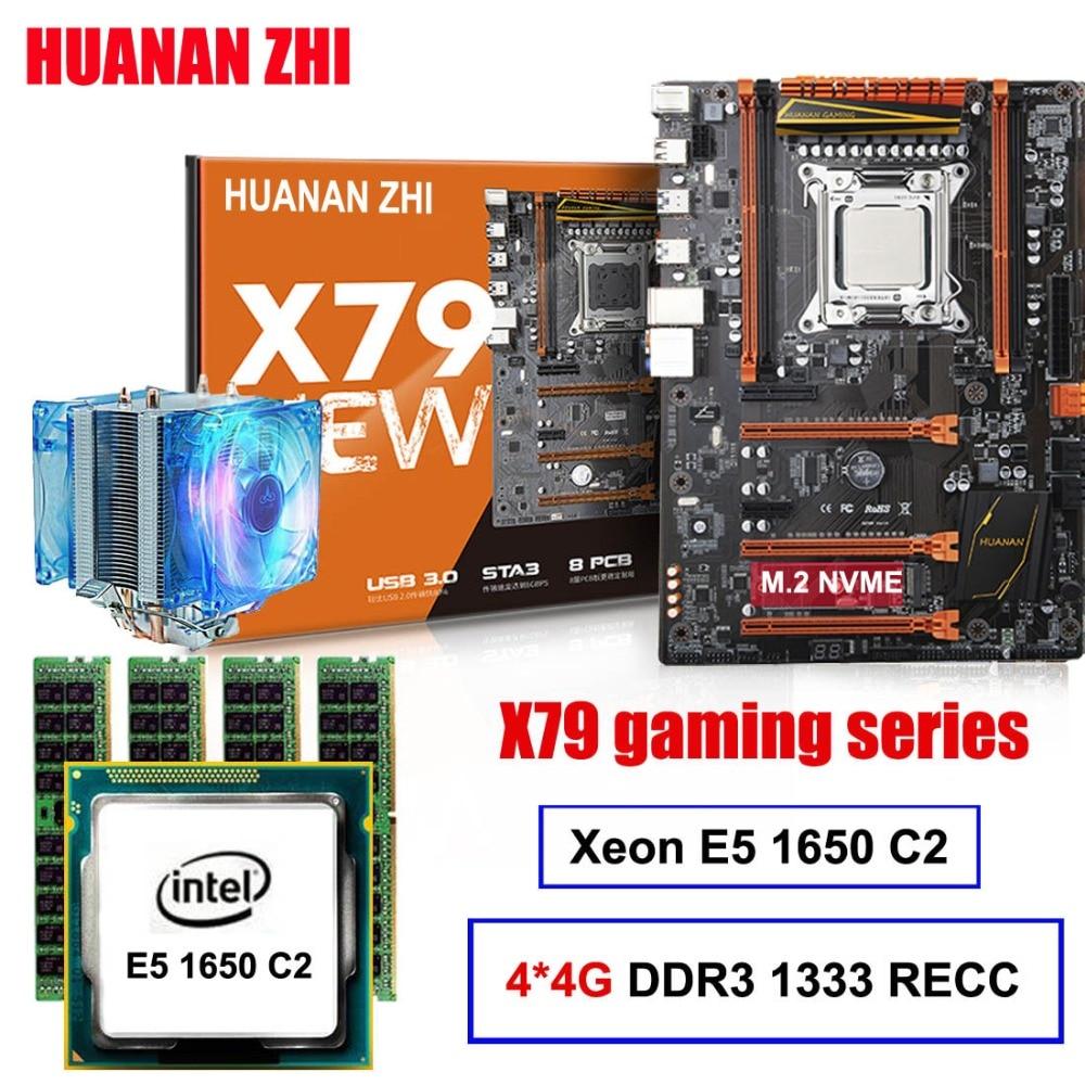 Juego de placa madre de descuento HUANAN ZHI X79 placa base para juegos con ranura m2 CPU Xeon E5 1650 C2 con refrigerador RAM 16G (4*4G) REG ECC
