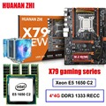 Korting moederbord set HUANAN ZHI X79 gaming moederbord met M.2 slot CPU Xeon E5 1650 C2 met cooler RAM 16G (4*4G) REG ECC
