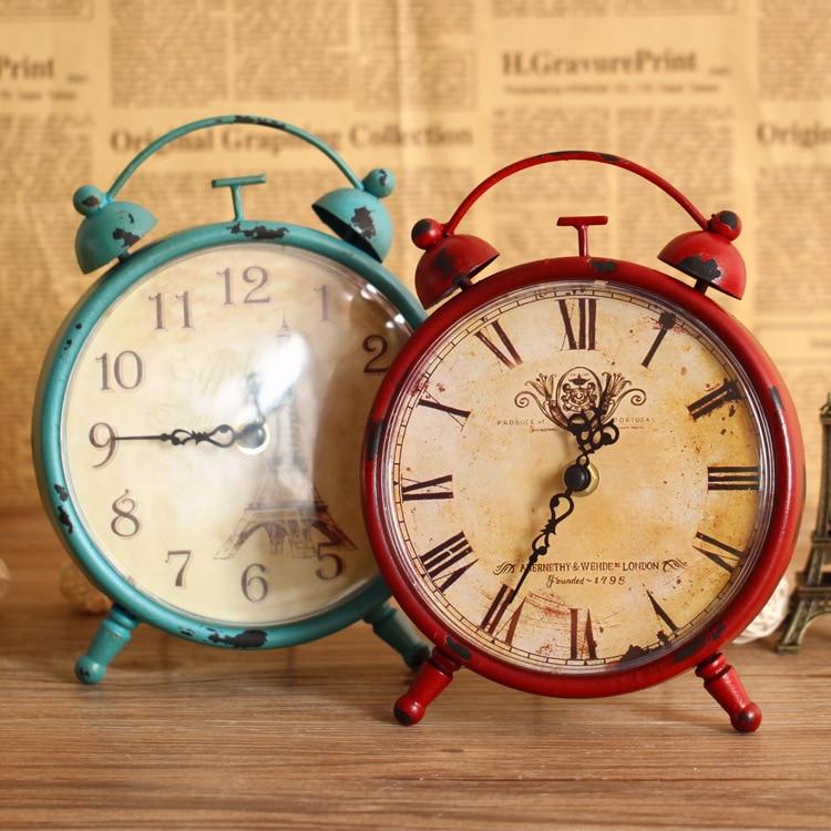 Hot Sale European Style vintage rustic iron alarm clock ...