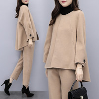 SWYIVY Womens Woolen Jacket Coat Set With Ankle Pants 2018 Autumn Winter Female Fashion Casual Clothing Laides Wool Coat Trouser