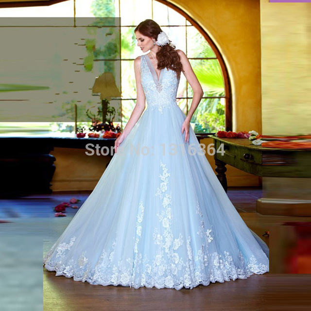 Special Charming Ice Blue Wedding Dresses Y Deep V Neck Sleeveless A Line Court