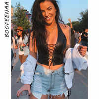 BOOFEENAA Black PU Leather Sexy Halter Crop Top Rave Festival Hollow Out Backless Tank Tops Women Summer Streetwear C83-H77