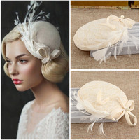 Fabulous 2017 1pc western style Veil Feather Hard Yarn Women headwear Brides Hair Accessories wedding hats and fascinators