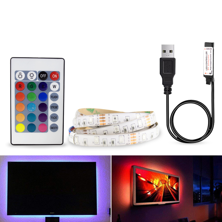 <font><b>2835</b></font> <font><b>SMD</b></font> RGB USB charger LED Strip light DC 5V USB Cable LED Light lamp Flexible Tape 1M 2M 3M 4M 5M RF IR RGB Remote control image