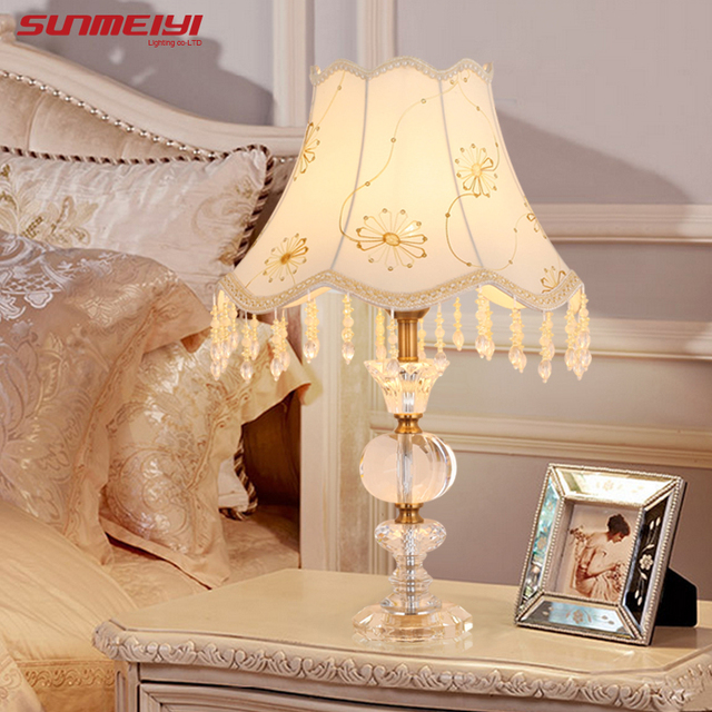 Modern Clear Crystal E27 Round Glass Table Lamp Base White Desk Lamp
