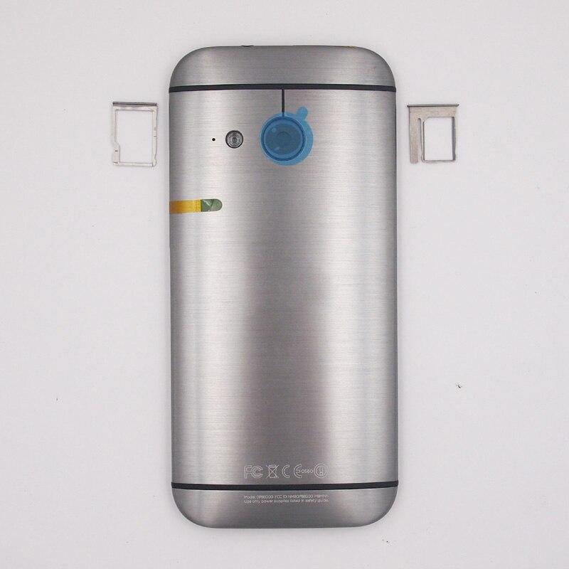 imágenes para 100% Nueva Batería Back Door Cubierta de la Bandeja de la Tarjeta SIM Bandeja de la Tarjeta Micro SD ranura de la Caja de La Cubierta Para HTC Uno Mini 2 M8 Mini Con Botones Laterales