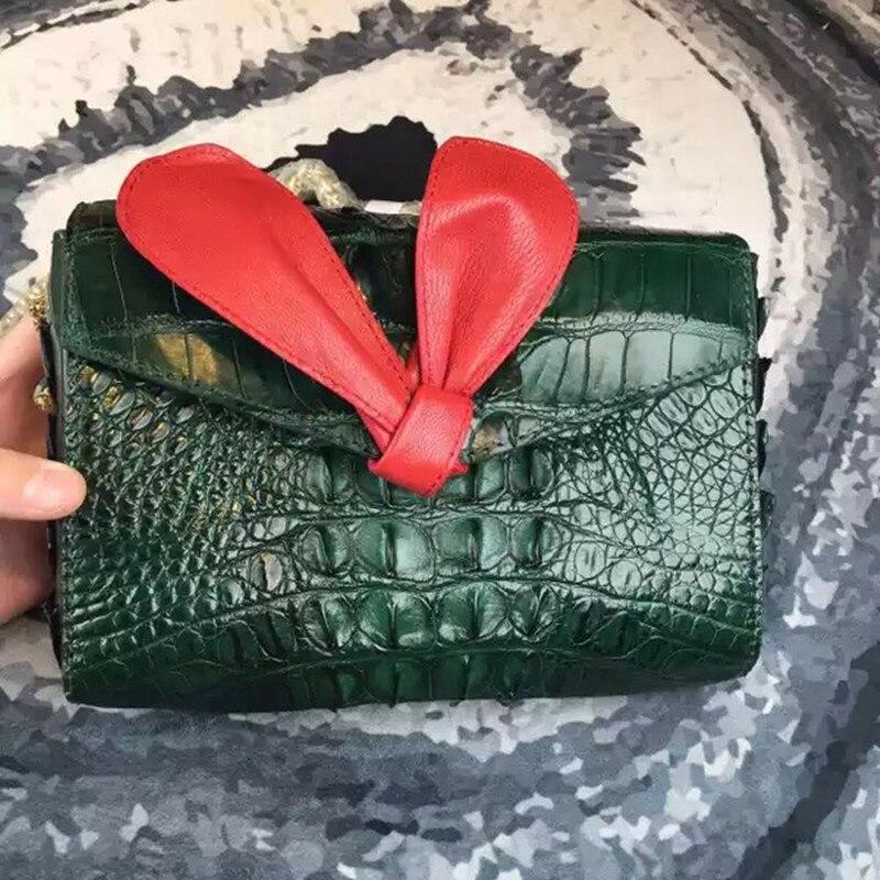 Fashion Designer Genuine Crocodile Skin Leather Women Female Small Bow Clutch Purse Shoulder Bag Lady Mini Gold Chain Phone Bag цена
