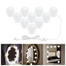 USB порт, зеркальный светильник для макияжа, голливудский туалетный светильник, светодиодный светильник для макияжа с регулируемой яркостью, настенный светильник, 6, 10, 14 ламп, комплект для туалетного столика