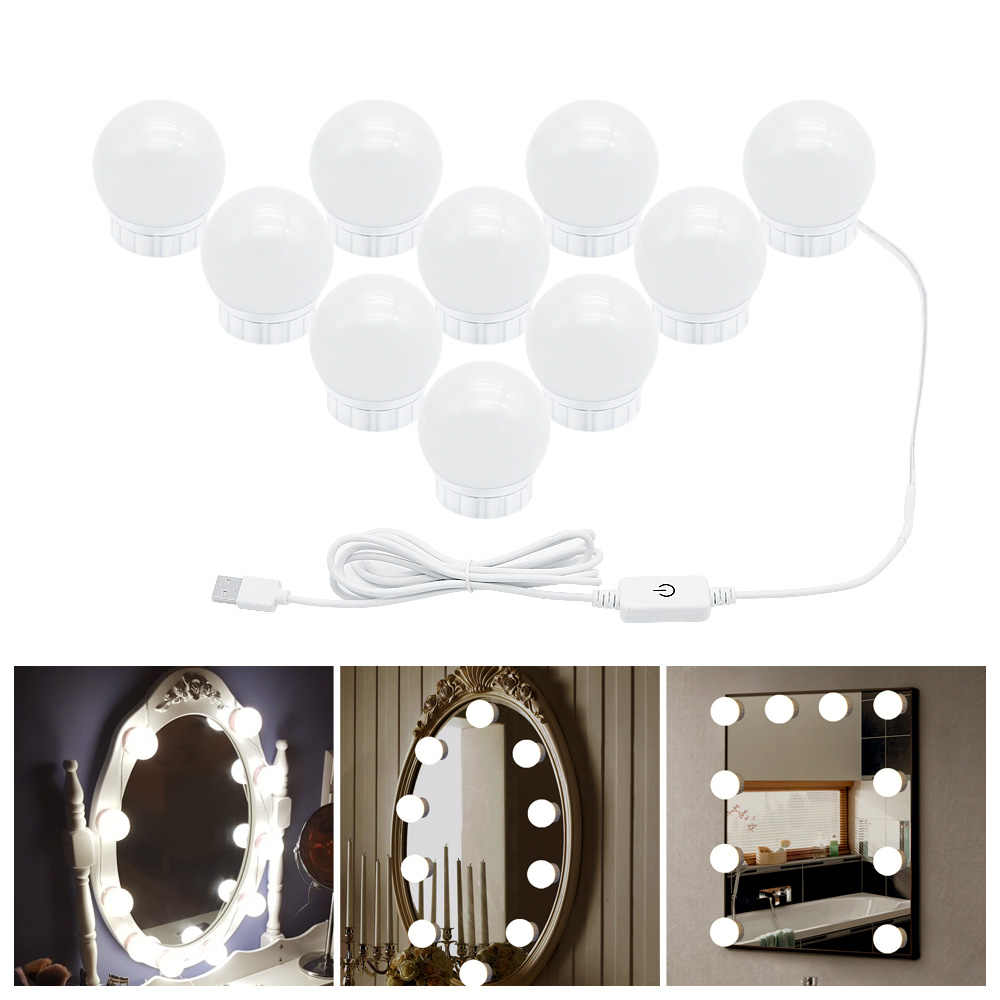 Lighted Vanity Mirror With USB Port Made Of Plastic Material For Makeup And Hair Styling