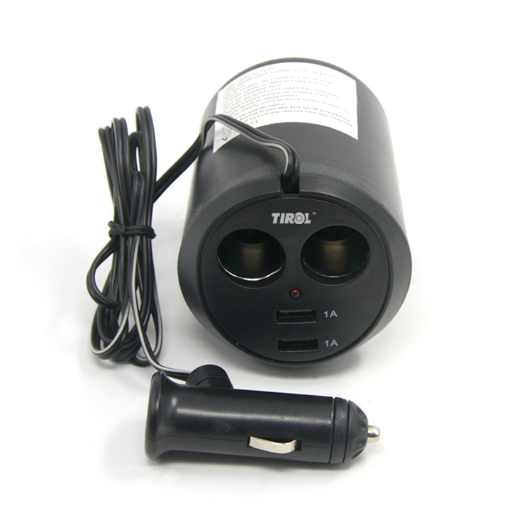 <font><b>Tirol</b></font> T16313 <font><b>New</b></font> 12 V 2 Way with 2 USB <font><b>Cup</b></font> <font><b>Holder</b></font> <font><b>Auto</b></font> Cigarette Splitter Lighter Power <font><b>Adapter</b></font> 5V/2A Car Charger Free Shipping