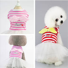 2019 New high quality red pink breathable fashion cute pet dog bow dress angel stripe skirt spring and summer