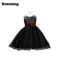 Prom dresses girls 2017 kids girls clothes belt sleeveless black sequins wedding vestidos infantis flower girl dress